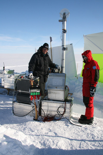 Operating the modified DK/German winch drill control at the Ice2Sea shallow drill site about 5 km out of camp.