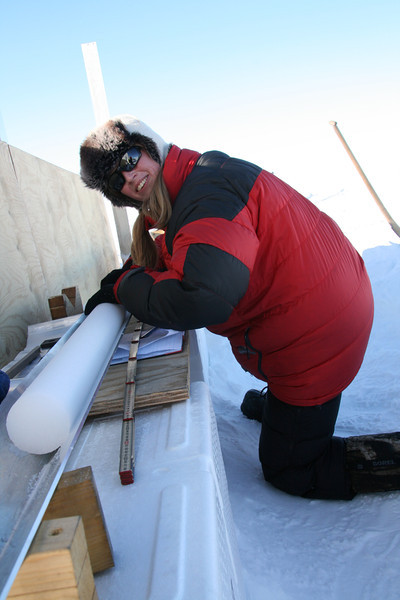 Logging of the ice core took place at the Ice2Sea drill site, 5 km out of the NEEM camp.