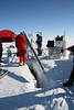 Tilting the AWI shallow drill – length of the ice core is about  1,5 m.