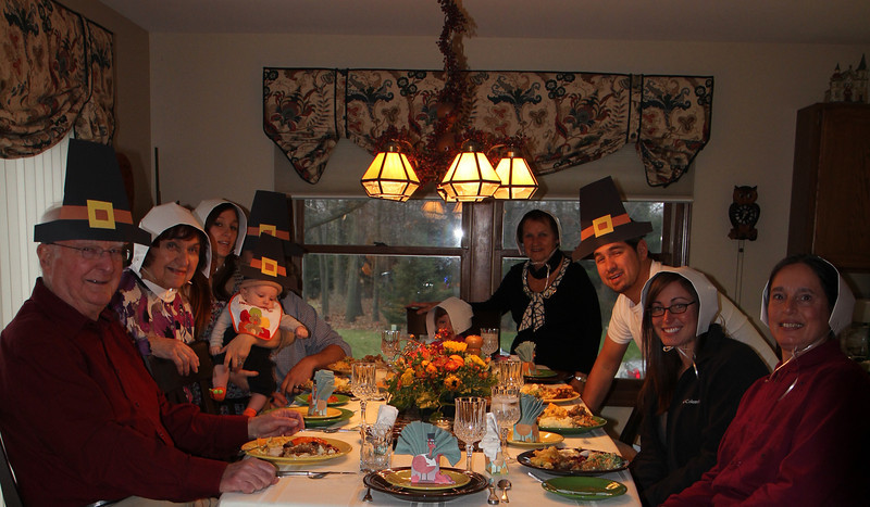 Pilgrims feasting