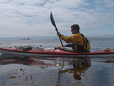 Geoff on our first full paddle day heading to the Bunsby Islands