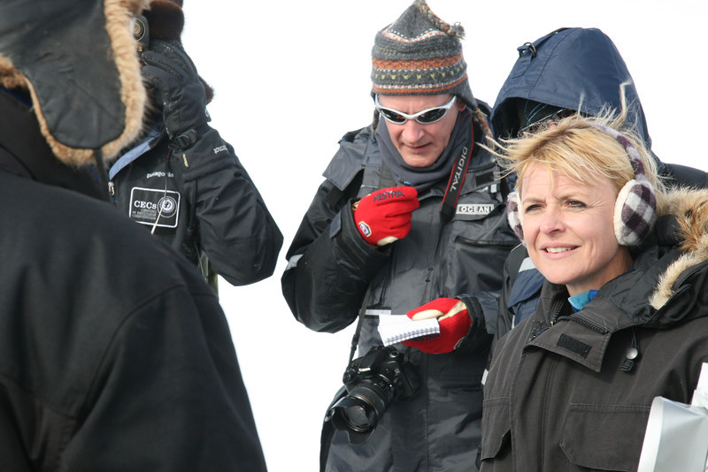 The Danish ministers Charlotte Sahl-Madsen and Lykke Friis and the Greenlandic minister Palle Christensen, showed big interest for the research<br /> at NEEM during their visit to the camp mid July. On the photo: Lykke Friis, danish minister of Climate and Energy.
