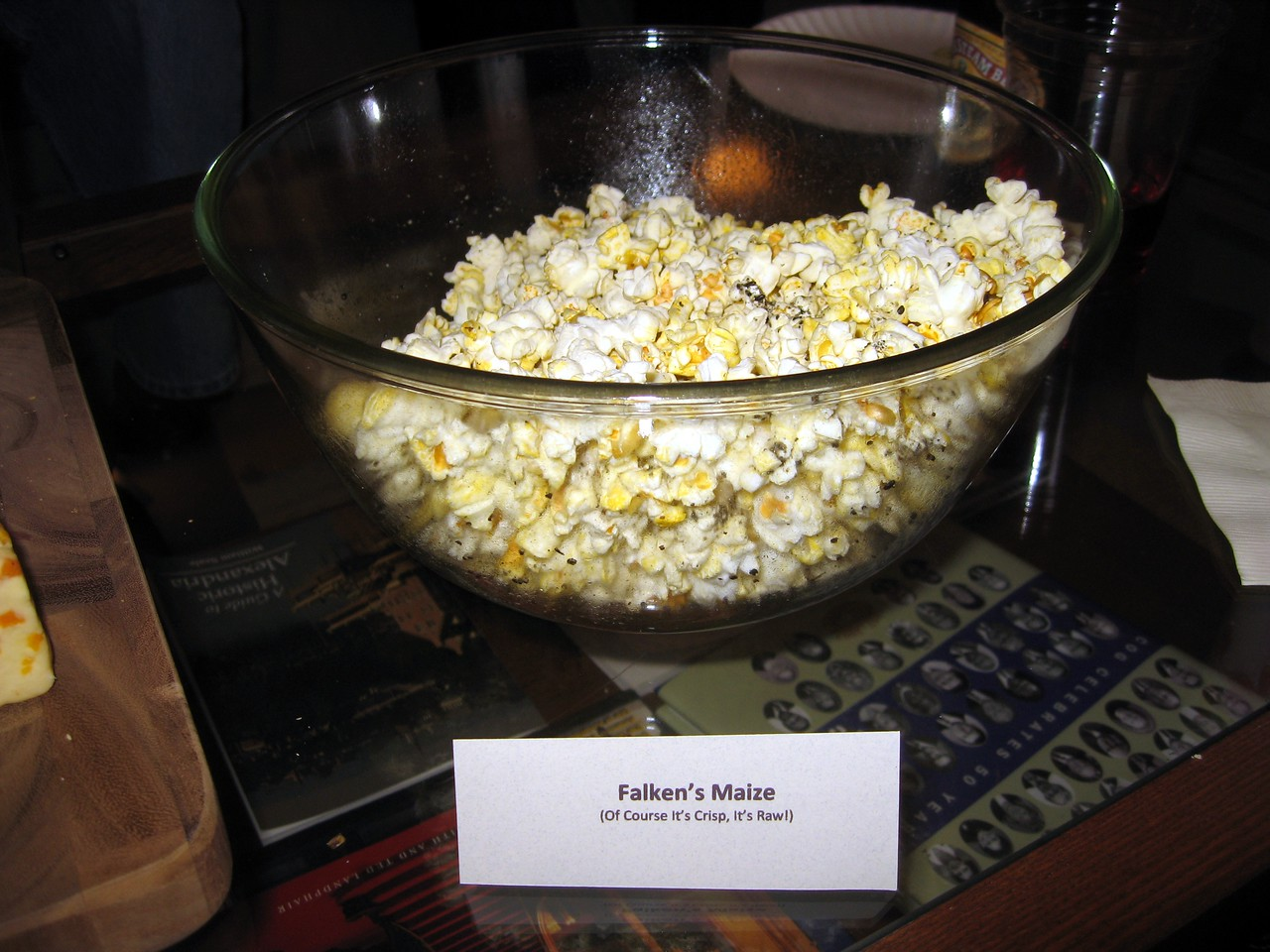 Falken's Maize -- Of Course It's Crisp, It's Raw!  (popcorn with black truffle salt and black pepper)