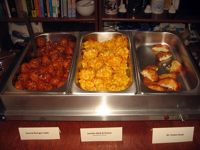General Beringer's Balls (vegan meatballs with General Tso's sauce); Jennifer Mack & Cheese (macaroni and cheese mini muffins); Mr. Potato Heads (potato latkes)