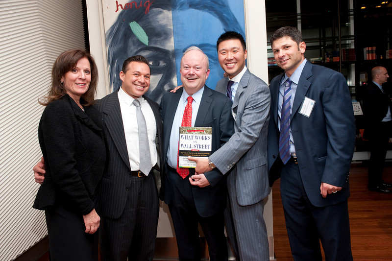 """Mary Sliwa, Ed Moldaver, Jim O'Shaughnessy,  James Lee, Wayne Chrebet attend    """"What Works on Wall Street"""" by Jim O'Shaughnessy Book Party Co-hosted by MOLDAVER-CHREBET GROUP on Wednesday, November 9, 2011 at The Core Club, 66 East 55th Street, 4th Floor Library, New York, NY.  PHOTO CREDIT:  ©Manhattan Society.com by Christopher London"""