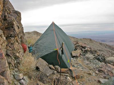Camp on a narrow ledge