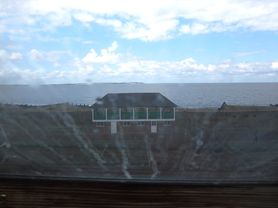 View of the water from skylight