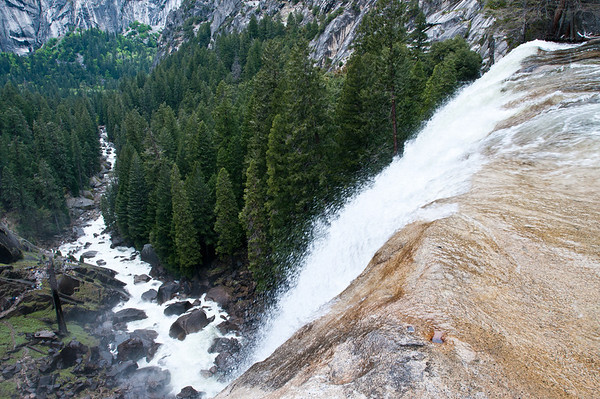 Vernal Falls gushing at the top