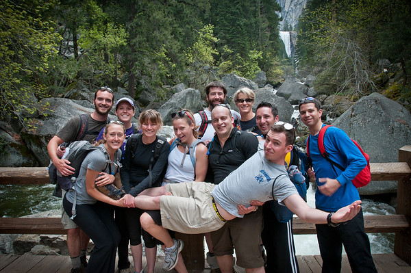Group photo on the bridge below Vernal Falls! We ended up hiking to the top of Nevada Falls, since all the other tough trails in the park were closed (due to snow).