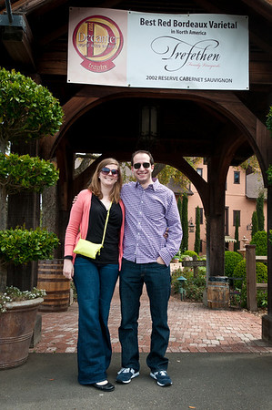 Gil and Jess posing at our first stop wine tasting in Napa: Trefethen!