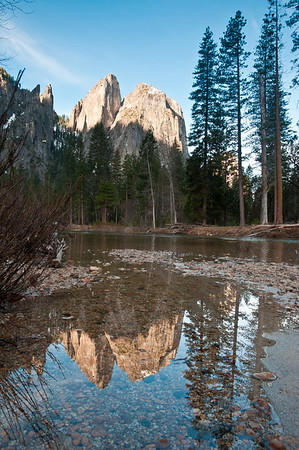 After taking photos of the sunset at Tunnel View we went over to a random spot listed in a book to get a reflection of Cathedral Rocks in the Merced River. The river was gushing a little too quickly to get reflections but we found this one teeny area that was calm enough to reflect. The 4 of us lined up our cameras as close as humanly possible so we could all shoot this. Kinda a meh scene.