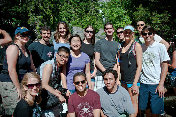 Once everyone arrived at Yosemite we met at Curry Village for lunch and then departed for the Mist Trail and up Vernal Falls. Here is the crew at the Vernal Falls Bridge