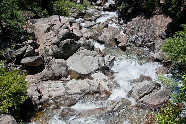 The interns found their way down below Cascade Falls -- shot from the bridge above