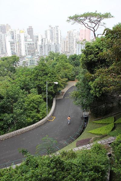 Running up Guia Hill.