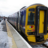 158732 at the recently reopened Alloa station working the 12:14 to Glasgow Queen St 02/01/11
