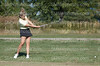 Senior Ashley Tate drives the ball down the green on Sept. 29.