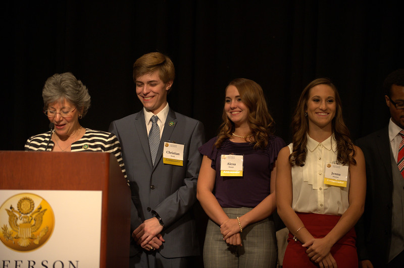 Karen Hatcher, National Director of Students In Action with Christian Sesek, Jenna Shumar and Alexa Sharpe of Brownsville Area High School, Pittsburgh