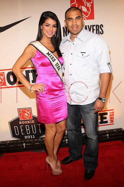 "NEW YORK, NY - APRIL 30:  Miss USA Rima Fakih and Ricky Romero attend the 2011 NFLPA Rookie Debut ""One Team"" Celebration at Cipriani Wall Street on April 30, 2011 in New York City.  (Photo by Steve Mack/S.D. Mack Pictures) *** Local Caption *** Rima Fakih; Ricky Romero"