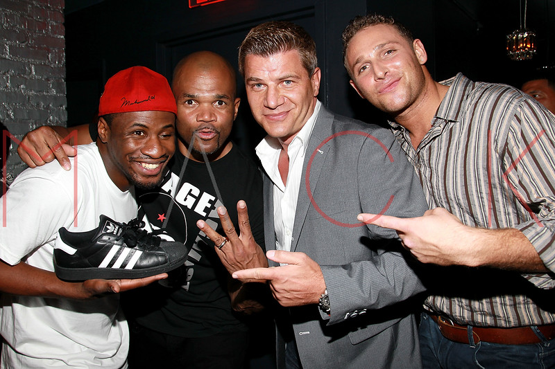 "NEW YORK, NY - AUGUST 25:  Eric Kelly, Darryl ""DMC"" McDaniels, Tom Murro and Christopher Nirschel attend BJ Coleman's 31st birthday party at The Polar Lounge on August 25, 2011 in New York City.  (Photo by Steve Mack/FilmMagic) *** Local Caption *** Eric Kelly; Darryl ""DMC"" McDaniels; Tom Murro; Christopher Nirschel"