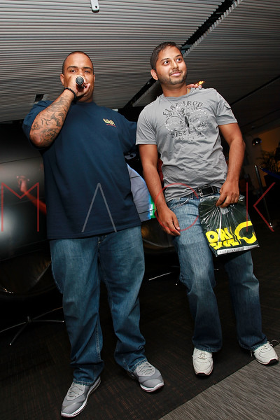 """NEW YORK, NY - AUGUST 16:  DJ Enuff and DJ Bijal attend Fame's """"Coy"""" video release party at The Samsung Experience on August 16, 2011 in New York City.  (Photo by Steve Mack/S.D. Mack Pictures) *** Local Caption *** DJ Enuff; DJ Bijal"""