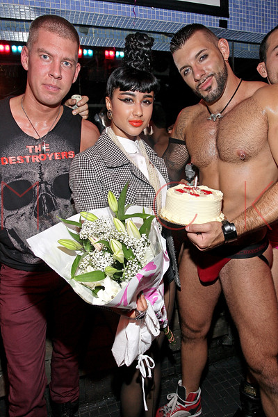 NEW YORK, NY - AUGUST 14:  Dougle Meyer (L) presents Natalia Kills (M) with a birthday cake at Splash NYC on August 14, 2011 in New York City.  (Photo by Steve Mack/S.D. Mack Pictures) *** Local Caption *** Dougie Meyer; Natalia Kills