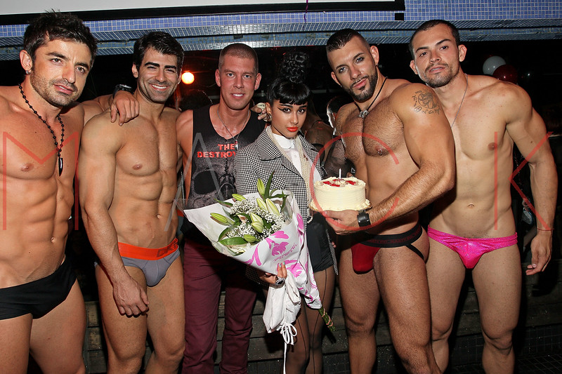 NEW YORK, NY - AUGUST 14:  Dougle Meyer (3rd from left) presents Natalia Kills (M) with a birthday cake at Splash NYC on August 14, 2011 in New York City.  (Photo by Steve Mack/S.D. Mack Pictures) *** Local Caption *** Dougie Meyer; Natalia Kills