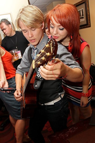 NEW YORK, NY - AUGUST 05:  Duran Visek and Carly Kalafus of The Kicking Daisies backstage at Radio Disney's Birthday Jam at the Hard Rock Cafe - Times Square on August 5, 2011 in New York City.  (Photo by Steve Mack/S.D. Mack Pictures) *** Local Caption *** Duran Visek; Carly Kalafus