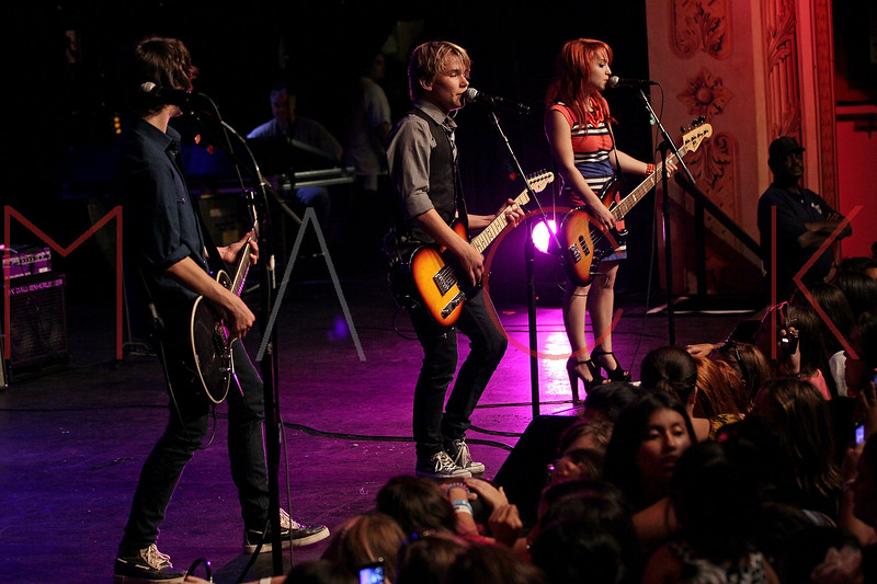 NEW YORK, NY - AUGUST 05:  Ben Spremulli, Duran Visek and Carly Kalafus of The Kicking Daisies perform onstage at Radio Disney's Birthday Jam at the Hard Rock Cafe - Times Square on August 5, 2011 in New York City.  (Photo by Steve Mack/S.D. Mack Pictures) *** Local Caption *** Ben Spremulli; Duran Visek; Carly Kalafus
