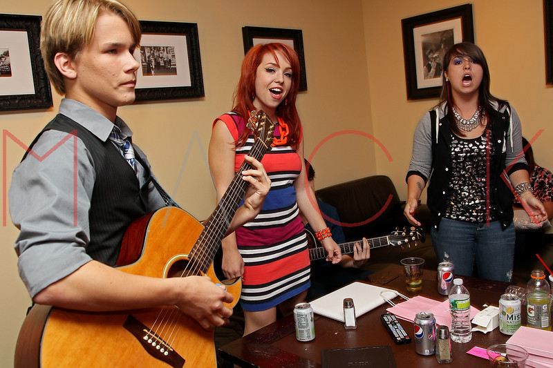 NEW YORK, NY - AUGUST 05:  Duran Visek, Carly Kalafus and Caitlin Kalafus of The Kicking Daisies backstage at Radio Disney's Birthday Jam at the Hard Rock Cafe - Times Square on August 5, 2011 in New York City.  (Photo by Steve Mack/S.D. Mack Pictures) *** Local Caption *** Duran Visek; Carly Kalafus; Caitlin Kalafus