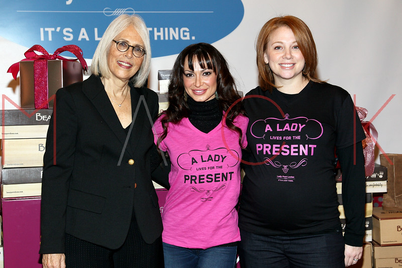 NEW YORK, NY - DECEMBER 13:  Bonnie Stone, President of Women In Need, Inc., Karina Smirnoff and Lauren Bristow, Lady Foot Locker Brand Director attend the BEARPAW boots charity event at Lady Foot Locker on December 13, 2011 in New York City.  (Photo by Steve Mack/S.D. Mack Pictures)