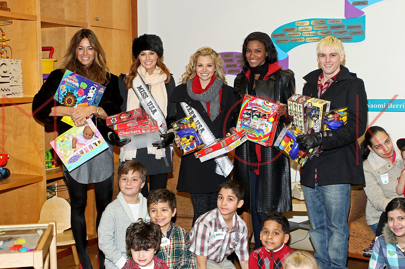 NEW YORK, NY - DECEMBER 13:  Kelly Bensimon, Alyssa Campanella, Danielle Doty, Leila Lopes and Aaron Carter attend CitySights NY's 2nd annual Holiday Joy Toy drive at The Naomi Berrie Diabetes Center on December 13, 2011 in New York City.  (Photo by Steve Mack/S.D. Mack Pictures)