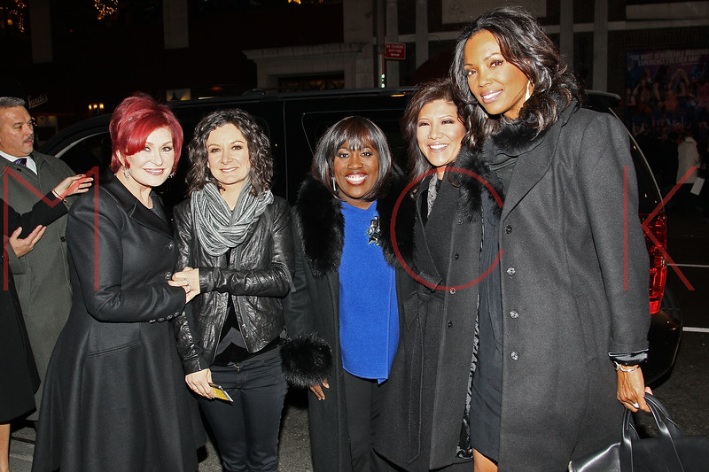 "NEW YORK, NY - DECEMBER 13:  Sharon Osbourne, Sara Gilbert, Sheryl Underwood, Julie Chen and Aisha Tyler attend ""Hugh Jackman Back On Broadway"" at The Broadhurst Theatre on December 13, 2011 in New York City.  (Photo by Steve Mack/S.D. Mack Pictures)"