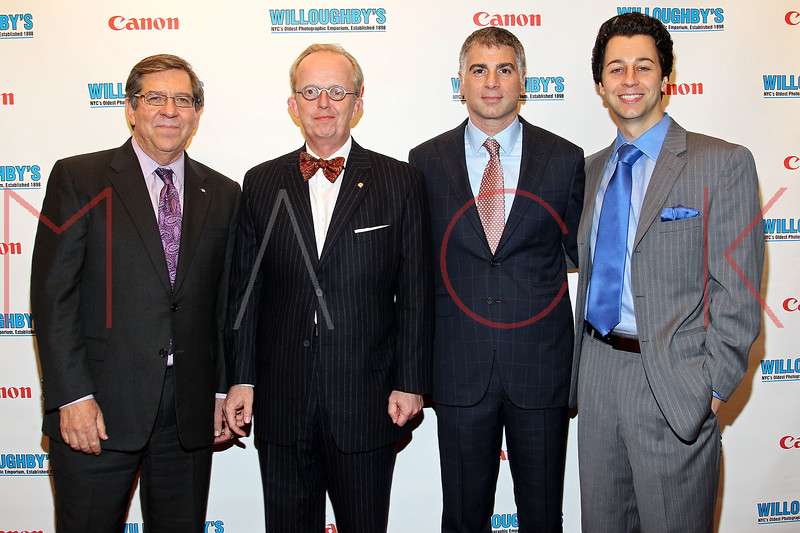 NEW YORK, NY - DECEMBER 05:  Canon Director of Sales Vincent Romano, Canon Senior Director Mark Hempel, CEO of Willoughby's Joseph Douek and Brian Hist of Canon USA attend the launch of the Canon Boutique at Willoughby's on December 5, 2011 in New York City.  (Photo by Steve Mack/S.D. Mack Pictures)