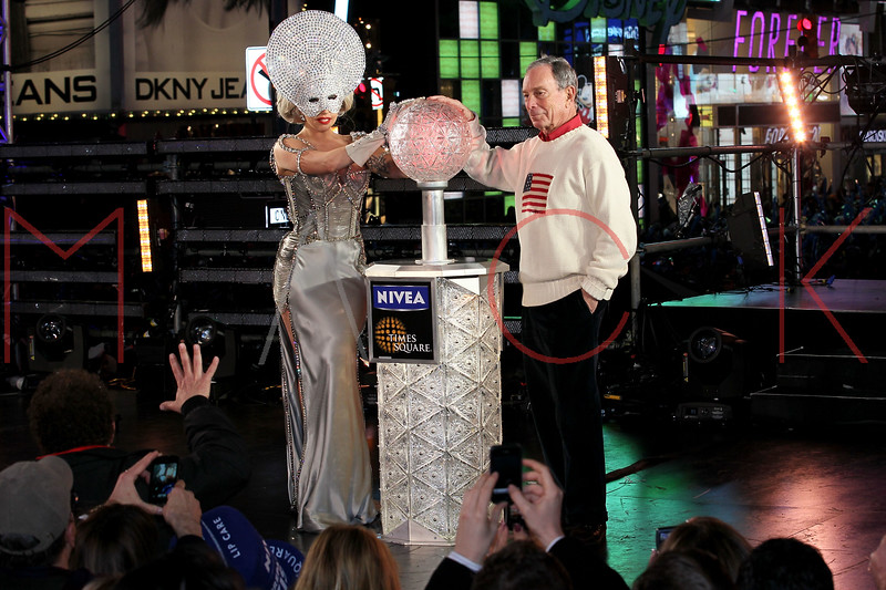 NEW YORK, NY - DECEMBER 31:  New York City Mayor Michael R. Bloomberg and Lady Gaga ring the new year at New Year's Eve 2012 in Times Square on December 31, 2011 in New York City.  (Photo by Steve Mack/S.D. Mack Pictures)