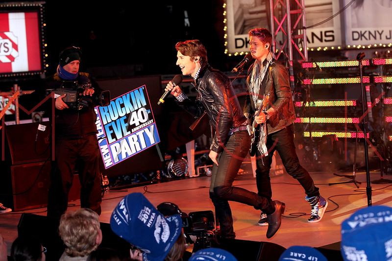 NEW YORK, NY - DECEMBER 31:  Ryan Follese and Nash Overstreet of Hot Chelle Rae perform at New Year's Eve 2012 in Times Square on December 31, 2011 in New York City.  (Photo by Steve Mack/S.D. Mack Pictures)