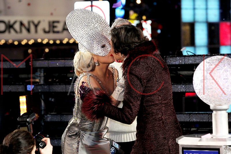 NEW YORK, NY - DECEMBER 31:  Lady Gaga and Diana Taylor onstage at New Year's Eve 2012 in Times Square on December 31, 2011 in New York City.  (Photo by Steve Mack/S.D. Mack Pictures)