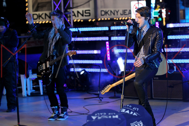 NEW YORK, NY - DECEMBER 31:  Nash Overstreet and Ryan Follese of Hot Chelle Rae perform at New Year's Eve 2012 in Times Square on December 31, 2011 in New York City.  (Photo by Steve Mack/S.D. Mack Pictures)