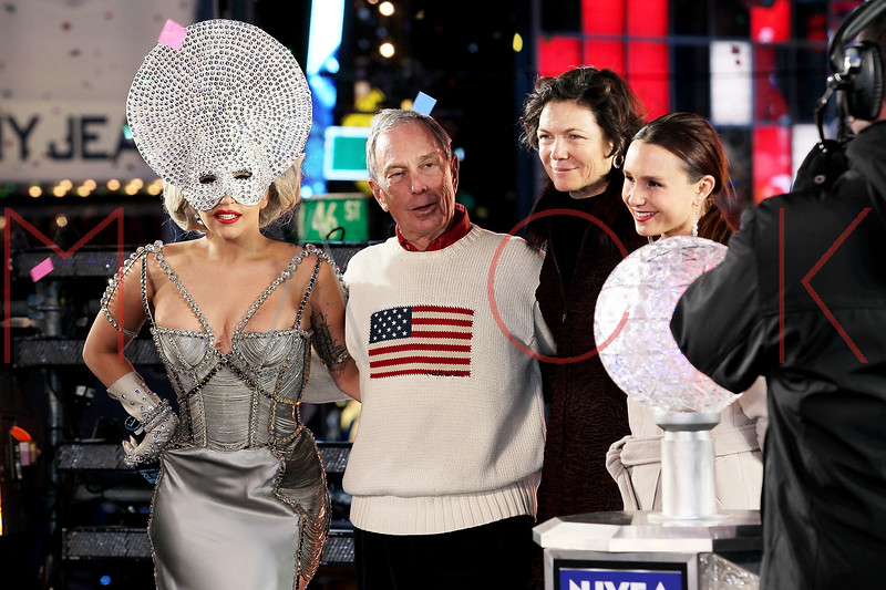 NEW YORK, NY - DECEMBER 31:  Lady Gaga, Mayor Michael Bloomberg, Diana Taylor and Georgina Bloomberg pose onstage at New Year's Eve 2012 in Times Square on December 31, 2011 in New York City.  (Photo by Steve Mack/S.D. Mack Pictures)