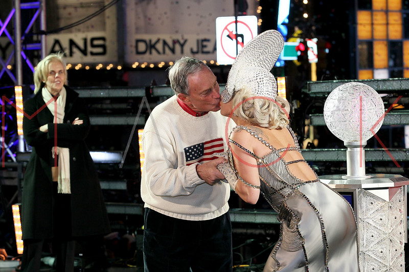 NEW YORK, NY - DECEMBER 31:  New York City Mayor Michael R. Bloomberg and Lady Gaga ring the new year with a kiss at New Year's Eve 2012 in Times Square on December 31, 2011 in New York City.  (Photo by Steve Mack/S.D. Mack Pictures)