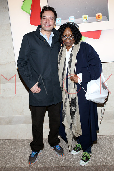 NEW YORK, NY - DECEMBER 09:  Jimmy Fallon and Whoopie Goldberg attend the grand opening of the Apple Store Grand Central on December 9, 2011 in New York City.  (Photo by Steve Mack/S.D. Mack Pictures)