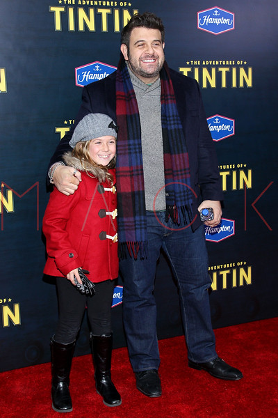 """NEW YORK, NY - DECEMBER 11:  Adam Richman (R) attends the """"The Adventures of TinTin"""" New York premiere at the Ziegfeld Theatre on December 11, 2011 in New York City.  (Photo by Steve Mack/S.D. Mack Pictures)"""
