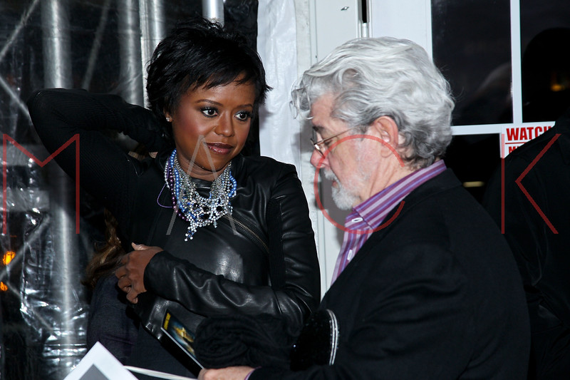 """NEW YORK, NY - DECEMBER 11:  Mellody Hobson and George Lucas attend the """"The Adventures of TinTin"""" New York premiere at the Ziegfeld Theatre on December 11, 2011 in New York City.  (Photo by Steve Mack/S.D. Mack Pictures)"""