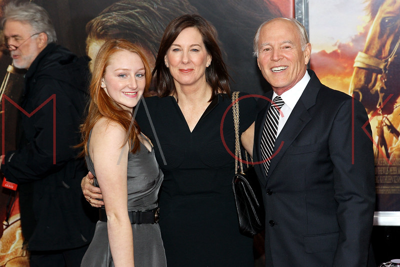 "NEW YORK, NY - DECEMBER 04:  Producers Frank Marshall (R) and Kathleen Kennedy (C) attend the ""War Horse"" world premiere at Avery Fisher Hall at Lincoln Center for the Performing Arts on December 4, 2011 in New York City.  (Photo by Steve Mack/S.D. Mack Pictures)"