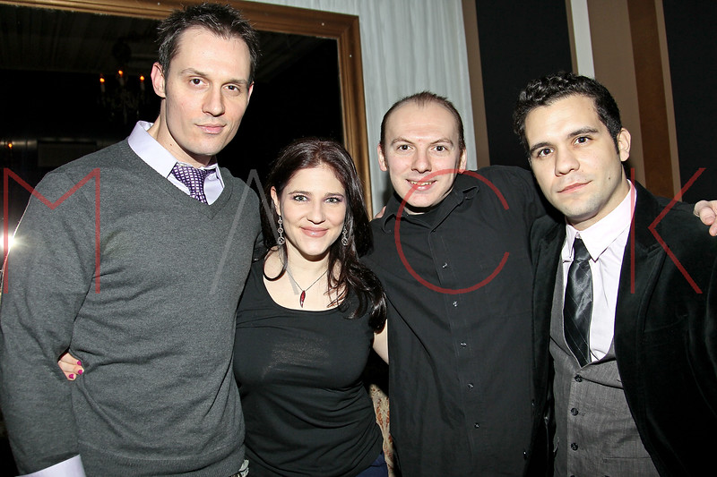"""NEW YORK, NY - FEBRUARY 12:  Keith Collins, Elissa Goldstein, Steven Wolf and Edvin Ortega attend the """"Bidendity Crisis"""" official cast wrap party at Foundation Lounge on February 12, 2011 in New York City.  (Photo by Steve Mack/S.D. Mack Pictures) *** Local Caption *** Keith Collins; Alissa Goldstein; Steven Wolf; Edvin Ortega"""