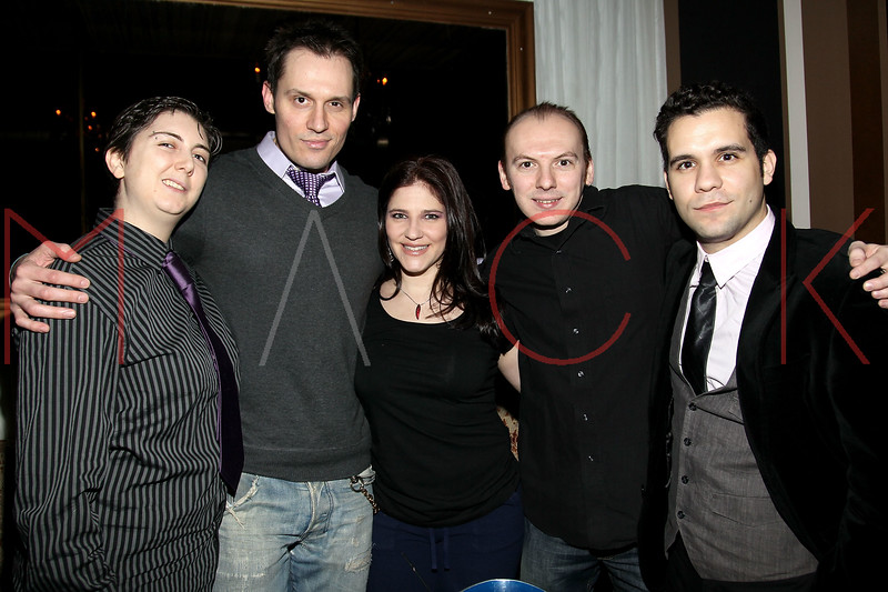 """NEW YORK, NY - FEBRUARY 12:  Jana Mattioli, Keith Collins, Elissa Goldstein, Steven Wolf and Edvin Ortega attend the """"Bidendity Crisis"""" official cast wrap party at Foundation Lounge on February 12, 2011 in New York City.  (Photo by Steve Mack/S.D. Mack Pictures) *** Local Caption *** Jana Mattioli; Keith Collins; Alissa Goldstein; Steven Wolf; Edvin Ortega"""