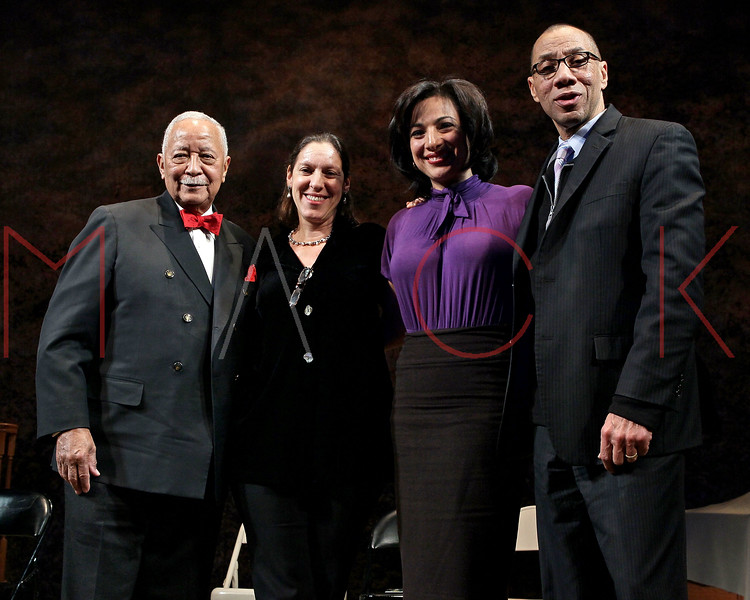 """NEW YORK, NY - FEBRUARY 09:  former New York City Mayor David Dinkins, NYU Professor Martha Hodes, CBS News correspondent Michelle Miller and Deputy Mayor Dennis Walcott attend the """"Driving Miss Daisy"""" TalkBack series celebrates Black History Month at The Golden Theatre on February 9, 2011 in New York City.  (Photo by Steve Mack/S.D. Mack Pictures) *** Local Caption *** David Dinkins; Martha Hodes; Michelle Miller; Dennis Walcott"""