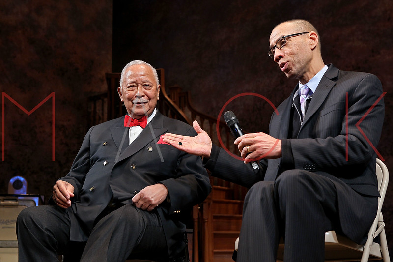 """NEW YORK, NY - FEBRUARY 09:  Former New York City Mayor David Dinkins and Deputy Mayor Dennis Walcott attend the """"Driving Miss Daisy"""" TalkBack series celebrates Black History Month at The Golden Theatre on February 9, 2011 in New York City.  (Photo by Steve Mack/S.D. Mack Pictures) *** Local Caption *** David Dinkins; Dennis Walcott"""