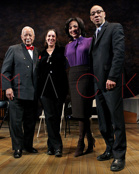 "NEW YORK, NY - FEBRUARY 09:  former New York City Mayor David Dinkins, NYU Professor Martha Hodes, CBS News correspondent Michelle Miller and Deputy Mayor Dennis Walcott attend the ""Driving Miss Daisy"" TalkBack series celebrates Black History Month at The Golden Theatre on February 9, 2011 in New York City.  (Photo by Steve Mack/S.D. Mack Pictures) *** Local Caption *** David Dinkins; Martha Hodes; Michelle Miller; Dennis Walcott"