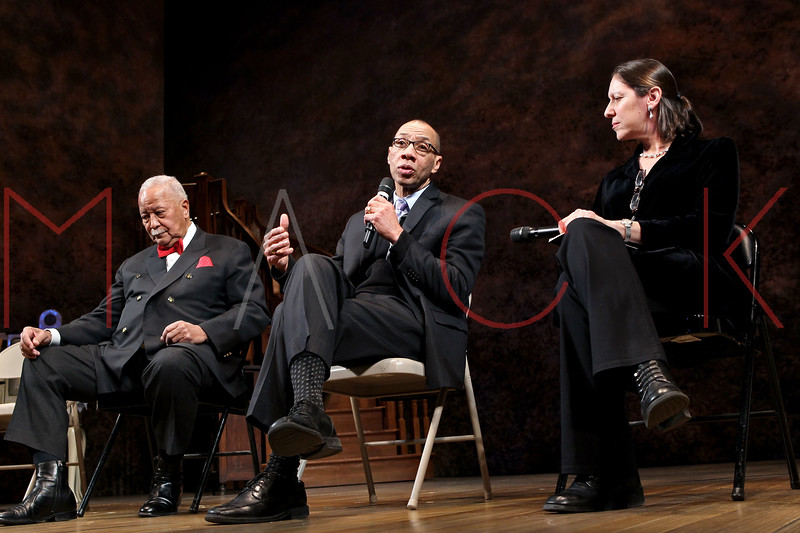 "NEW YORK, NY - FEBRUARY 09:  Former New York City Mayor David Dinkins, Deputy Mayor Dennis Walcott and NYU Professor Martha Hodes attend the ""Driving Miss Daisy"" TalkBack series celebrates Black History Month at The Golden Theatre on February 9, 2011 in New York City.  (Photo by Steve Mack/S.D. Mack Pictures) *** Local Caption *** David Dinkins; Dennis Walcott; Martha Hodes"