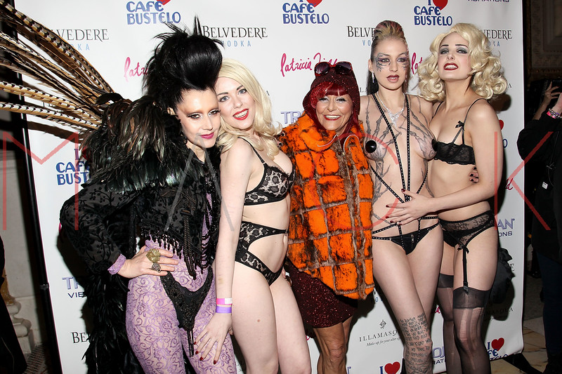 NEW YORK, NY - FEBRUARY 11:  Event Producer Susanne Bartsch, Anna Evans, Costume Designer Patricia Field, Jessica Love and Arden Leigh attend the Patricia Field Disco Valentine's Ball at Capitale on February 11, 2011 in New York City.  (Photo by Steve Mack/S.D. Mack Pictures) *** Local Caption *** Susanne Bartsch; Anna Evans; Patricia Field; Jessica Love; Arden Leigh